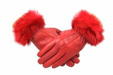 Womens Ladies Grey Leather Gloves With Fur Trim Fleece Lined Warm Winter Xmas