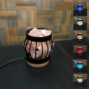 USB Himalayan Salt Lamp Basket Salt Crystal Rock Chunks Healing Ionizing Lamps