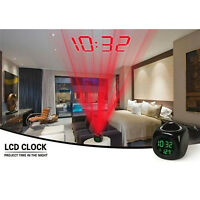 NEW Multifunction Vibe LCD Talking Projection Alarm Clock Time & Temp Display