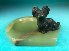 ANTIQUE SKYE TERRIER DOG BRONZE MOUNTED ON AN ONYX DESK TRAY, LOVELY!
