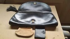 Vintage Black All Leather Clutch Bag, Matching Purse & Notebook - CLASS!!