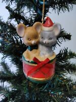 Christmas Ornament Best Friends Hand Painted Bisque Porcelain Bell - Mice