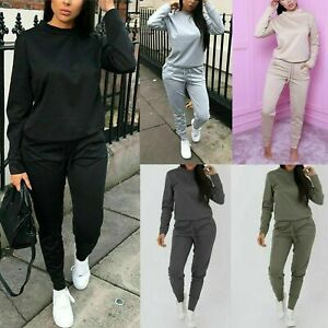 Ladies Women Casual Long Sleeve Lounge Wear Top Bottom 2 Pc Set Tracksuit