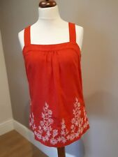 NEXT Red Linen Blend Vest cami Top white floral embroidery  Size 12 BNWT