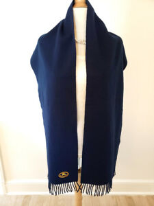 BURBERRYS OF LONDON 100% LAMBSWOOL SCARF BLUE, 74 X 12 INCHES - INCL FRINGE