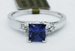 AAA TANZANITE 0.74 Cts  & GENUINE DIAMOND RING 10K WHITE GOLD * New With Tag *
