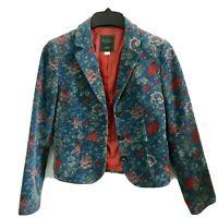 BCBG Korea Women's Cropped Velvet Jacket BlazerFloral Print (Sz Small)