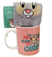 "Disney Thumper Mug & Socks Classic Gift Set ""Too Cute To Care "" Brand New"