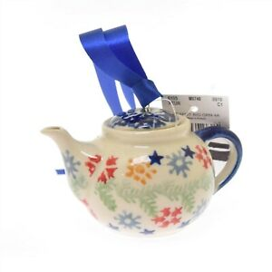 "Boleslawiec Polish Pottery Christmas Ornament Teapot 2"" Stars Vines Flowers"