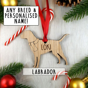 Personalised Dog Bauble Decoration - Christmas Tree gift present - Pet Breeds