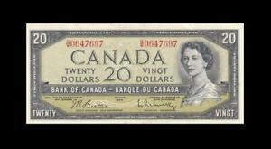 """1954 BANK OF CANADA QEII $20 **Beattie & Rasminsky** """"G/W"""" (( GEM UNC ))"""