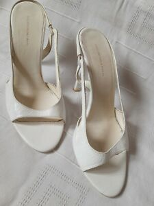 Balenciaga White Leather High Stiletto Heels Sandal Shoes Vintage uk 6 eur 39