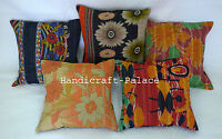 Vintage Cotton Kantha Cushion Cover Lot of 5 Pillow Case Handmade Indian Throw