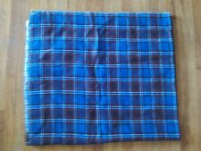"""Blue, brown, white plaid flannel fabric 46"""" wide 2 yards-plus long soft"""