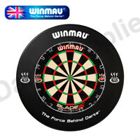 Winmau Blade 5 Dartboard & Heavy Duty BDO Printed Surround in Black