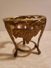 Solod Brass  3 Legs Sphere Grape  Holder Plant Stand W/Patina
