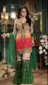 Brand New Pakistani Asian Style Party Wedding Dress with Dupatta 3 pcs