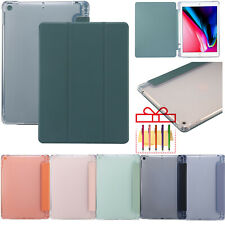 "For iPad 10.2 7th 2019 5/6th 9.7"" Smart Leather Pen Slot+Clear Back Stand Case"