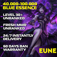 EUNE League of Legends EUNE LoL Account 30-40 Level account Smurf BE Unranked PC