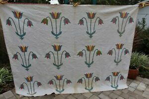"ANTIQUE Quilt PENN DUTCH TULIP APPLIQUE COLORFUL Hand Stitched 95"" X 74"""