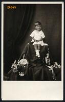 sweet girl w strange dolls, clown,  unusual, Vintage Photograph, 1933
