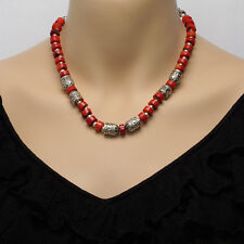 Deep Red Coral & Sterling Silver Bead Necklace With Matching Bracelet & Earrings