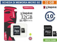 SCHEDA DI MEMORIA KINGSTON MEMORY CARD MICRO SD UHS-I CLASSE 10 80MB/s 32GB