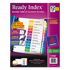 Avery Ready Index Customizable Table of Contents Asst Dividers 12-Tab Ltr 6 Sets