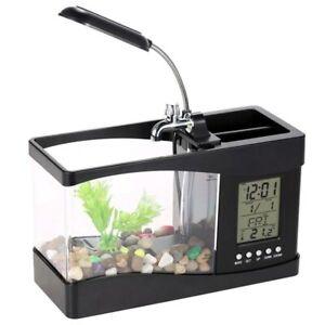 Mini Acquario portatile USB LCD Desktop lampada luce Fish Tank Aquarium orologio