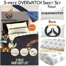 3-piece OVERWATCH Video Gaming Twin/Single Bed SHEETS +Pillowcase SET Gamer Kids