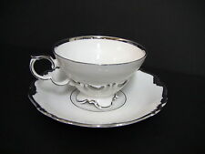 Edelstein Bavaria China Maria Theresia #5760 White 4 Cups and Saucers /Platinun