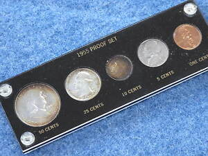 1955 United States Silver Gem Proof Set with Frosty Franklin Half E0241
