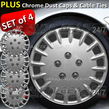 "13"" inch Car Silver Wheel Trims Hub Cap Covers + Free 8 Cable Ties & 4 Dust Caps"