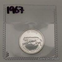 1967 Canada Silver 25 Cents UNCIRCULATED Coin 1867-1967 Bobcat! #coinsofcanada