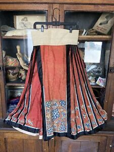 antique chinese Embroidered Skirt 1900's Qing  Dynasty Forbidden Stitch Floral