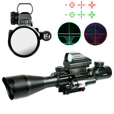 Free Shipping 4-12X50E Red Green Illuminated Tactical Riflescope Red Laser Sight