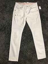 ROCK REVIVAL Jeans JACK Biker Stretch Skinny Jeans White Men 32W 33.5L   (R251)
