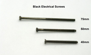 Black Electrical Screws for fixing Sockets Plugs or Switches 75mm 50mm or 40mm