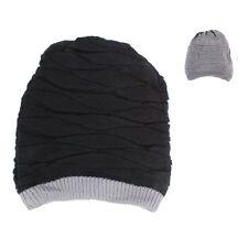 Mens Womens Baggy Knit Beanie Reversible Dual Layer Winter Hat Ski Cap Skull BL