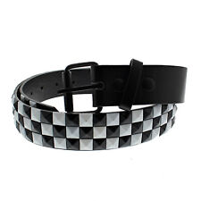 Unisex 3 Row Pyramid Studded Belt Black and White Check - One Size - Brand New