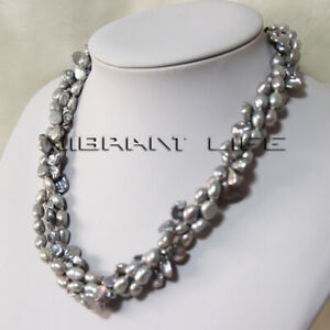 """20"""" 5-9mm Gray Baroque 3Row Freshwater Pearl Necklace Magnetic Clasp UE"""