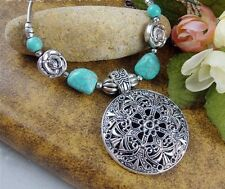 Huge Tibetan Peony Flower Turquoise Hollow Auspicious Pattern Medallion Necklace
