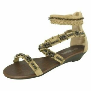 Spot On Ladies Low Wedge Strappy Sandals
