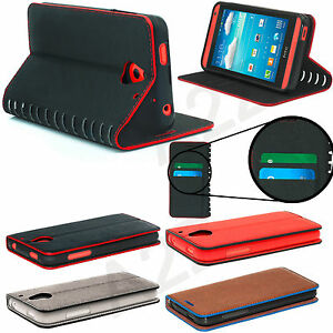 NEW STYLISH DESIGN SLIM LEATHER FLIP WALLET CASE COVER + Free Glass Protector