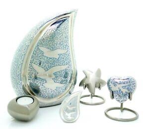 Doves Teardrop Cremation Urn, Keepsake, Star, Heart and Tea light Urn,