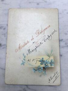 VECCHIA CARTOLINA CARTONCINO FIORI 1894 OLD POSTCARD