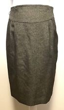 LOFT Womens 8 Pencil Skirt Pleated Belted Lined Pockets Brown Black Weave Knit