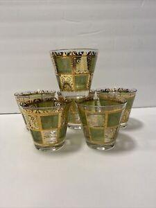 (6) Vintage Culver Prado Green and 22K Gold Whiskey Low Ball Glasses 1960's Set