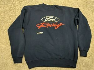 Vintage Ford Sweatshirt Large Blue Comfy Racing Jersey Hanes