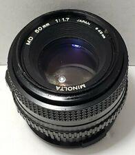 Minolta MD 50mm f/1.7 Prime Manual Focus Lens w/ Caps